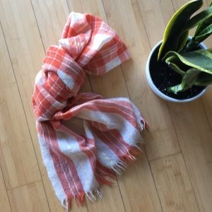 J. crew orange gold shimmer plaid wool scarf